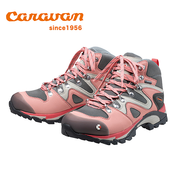 【日本Caravan】 C4-03 女性專用戶外登山健行鞋 樹梅紅