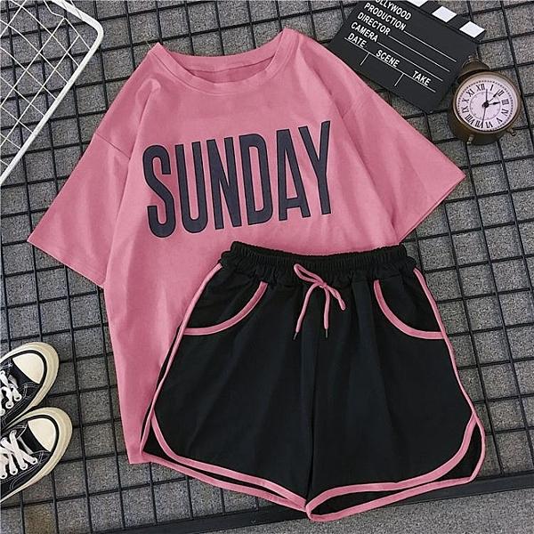 夏天學生少女運動套裝女寬鬆韓版夏季時尚休閒跑步短褲短袖兩件套 夏季套裝