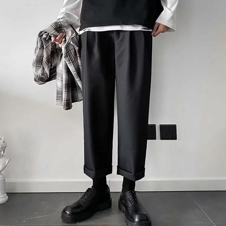 挺拔雙摺.棉料西裝褲