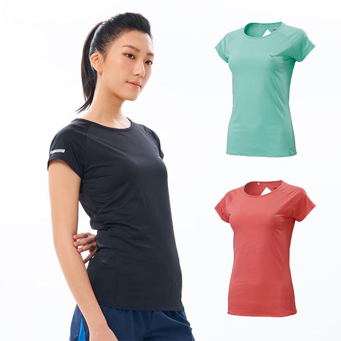 MIZUNO 女款挖背路跑短袖T恤 吸汗快乾 伸縮彈性 J2TA0201 贈1襪 20SS【樂買網】