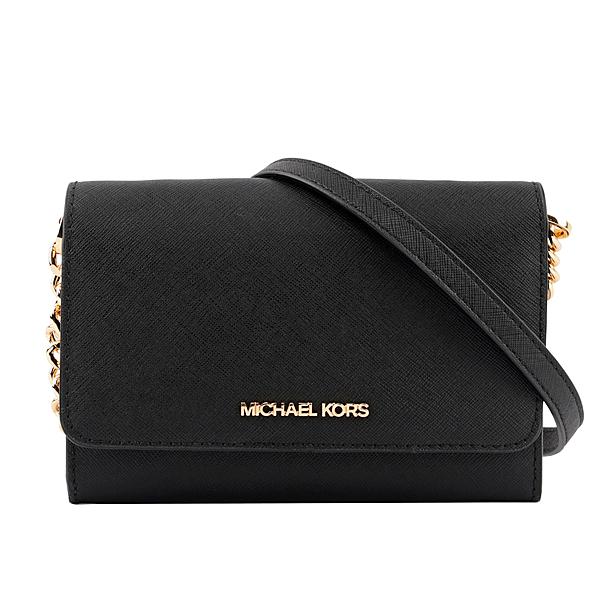 【MICHAEL KORS】金字防刮皮革多功能皮夾式斜背包(黑色) 35S0GTVC2L BLACK