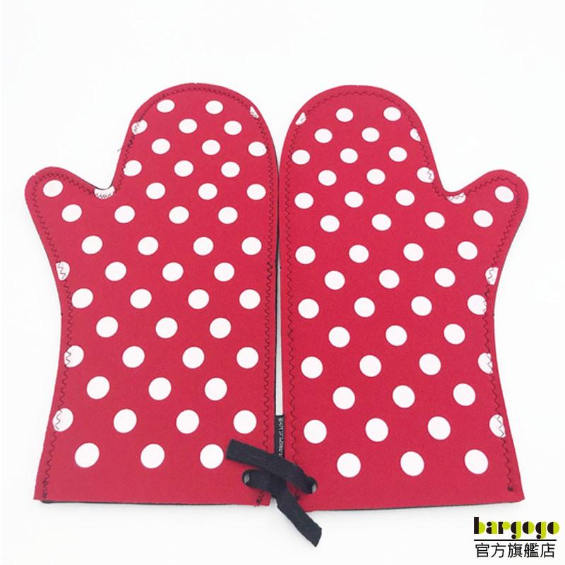 紅色白點-隔熱長手套 隔熱/烘焙/烤箱/防燙手套/一套裝HBWB-512D