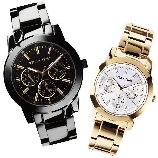 RELAX TIME 三眼黑x金時尚腕錶 (R0800-16-21X+R0800-16-30) 42.5+38mm