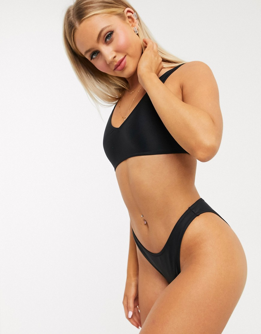 Missguided mix and match plunge bikini top in black