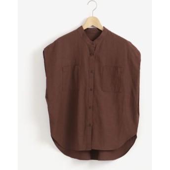 le. coeur blanc/ルクールブラン ノーカラーポケットクロスシャツ ブラウン 38