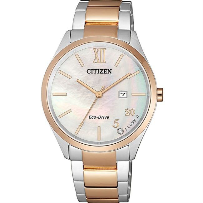 CITIZEN 星辰錶 PAIR系列 EW2456-88D 時尚光動能簡約日期腕錶 /34.5mm