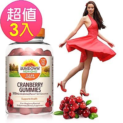 Sundown日落恩賜 50倍濃縮蔓越莓軟糖x3瓶(75粒/瓶)