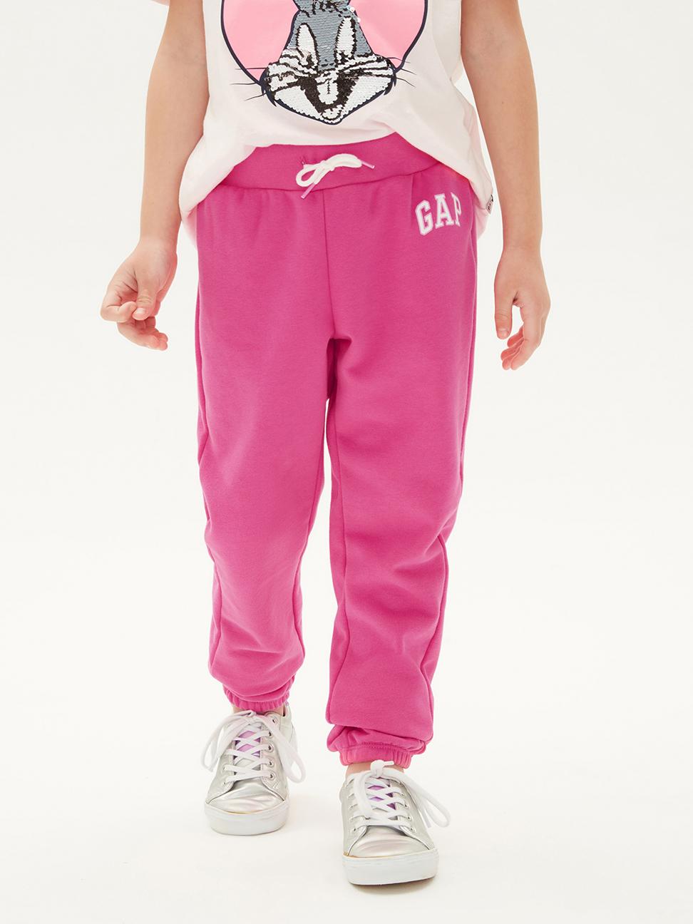 女童 碳素軟磨系列 法式圈織棉質鬆緊休閒褲