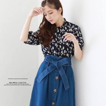 トップス シャツ ブラウス レディース ファッション 2019春夏新作 シャーリング衿 花柄 ブラウス 花柄
