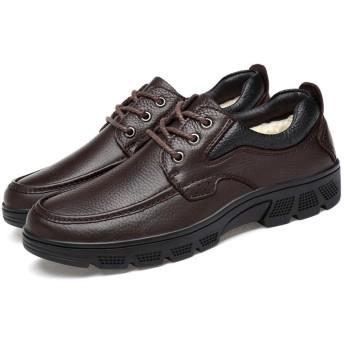 [Ziv-Nat] ビジネスシューズ メンズ 紳士靴 カジュアル スニーカー 冬 裏ボア 防寒 通勤 お出かけ トラベル レジャー 防滑 滑り止め オフィス ウォーキングシューズ オシャレ 耐久性 30.0cm 褐色 ブラウン