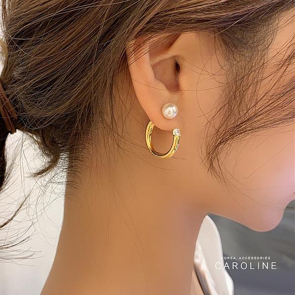 《Caroline》S925銀針氣質簡約閃鑽圓圈個性冷淡風耳釘后挂式耳環72205