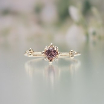 K10 ピンクバイオレットサファイア ダイヤモンド リング〔花 つぼみ 自然〕