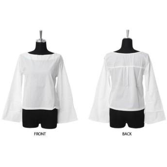 トップス Tシャツ カットソー スリット入り フレア スリーブ ボートネック 長袖 ロンT レディース ファッション  上品 オシャレ