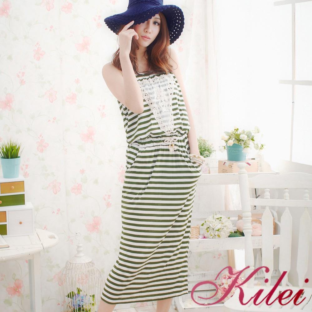 Kilei 平口休閒風條紋長版洋裝XA943-02(優感綠)小尺碼 廠商直送 現貨