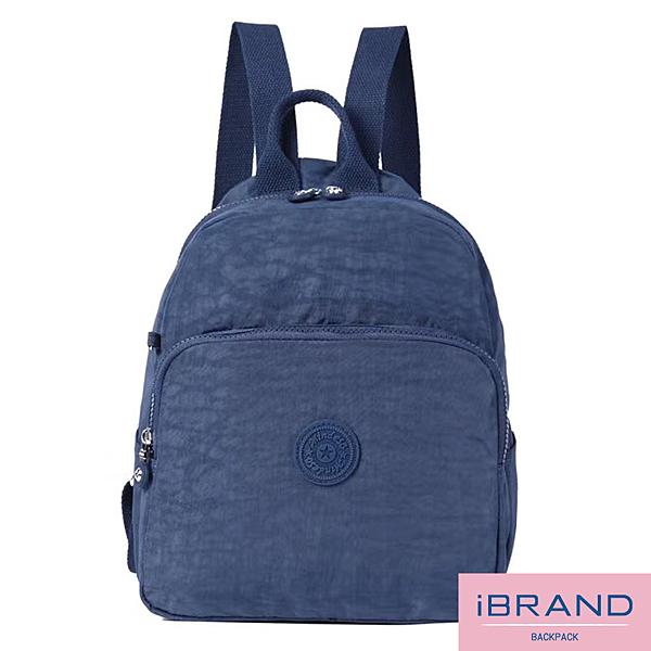 【i Brand】輕盈防潑水素色大口袋尼龍後背包-寶藍色 MDS-8502-BL