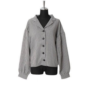 トップス シャツ ブラウスBIG袖開襟 チェックシャツ シンプル レディース ファッション 上品 オシャレ キレイめ
