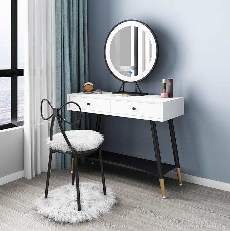 梳妝臺 化妝桌 120cm單桌 桌子 臥室現代簡約多功能輕奢北歐鐵藝網紅ins風小戶型桌化妝臺