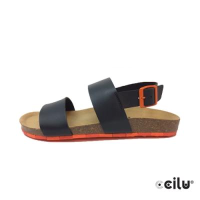 CCILU 雙帶皮革涼鞋-男款-801002001黑色