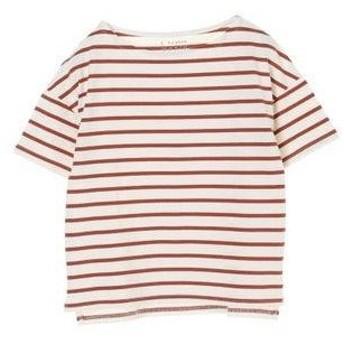 イーハイフンワールドギャラリー E hyphen world gallery ドロップショルダーボーダーTシャツ (Brown)
