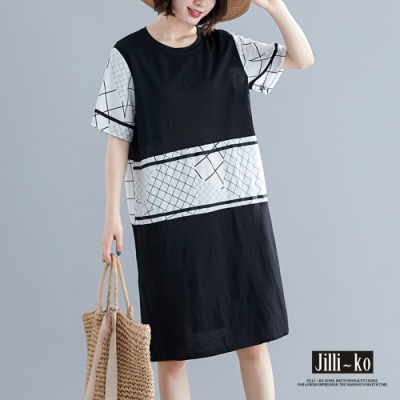 JILLI-KO 簡約幾何撞色拼接連衣裙- 黑色