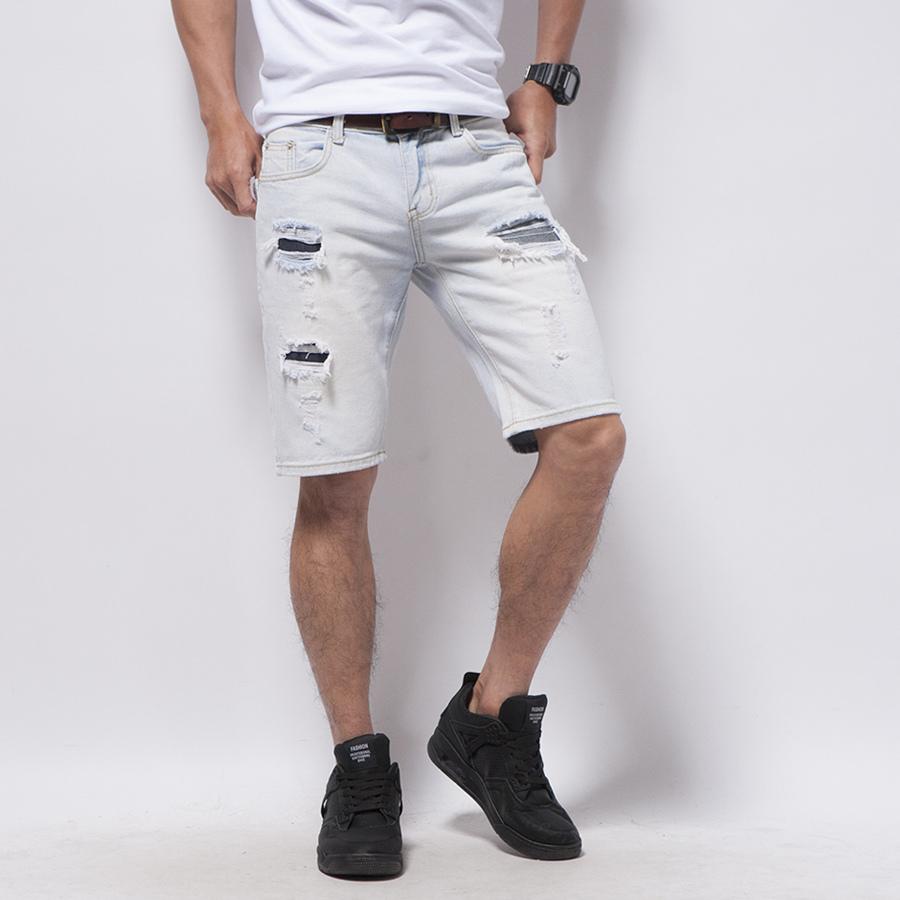 夏日淺色刷破牛仔短褲