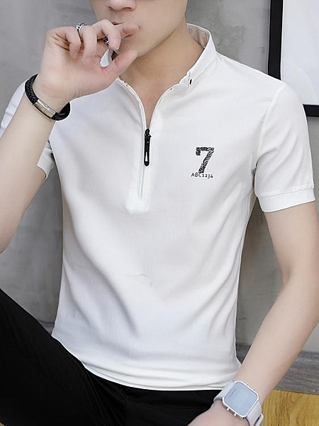 男士短袖t恤夏季韓版潮流男裝半袖polo衫潮牌立領打底衫 淇朵市集