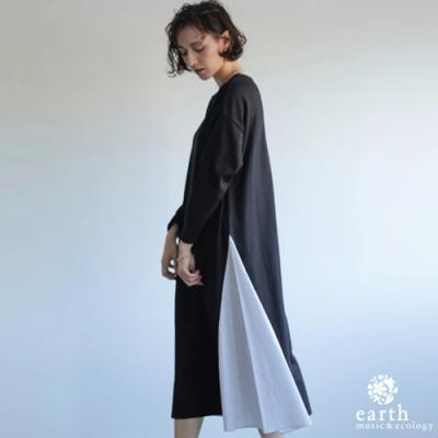 earth music 側開衩拼色設計連身洋裝