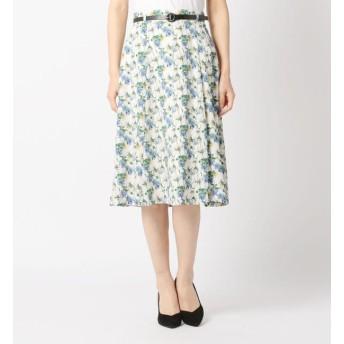 【ミューズ リファインド クローズ/MEW'S REFINED CLOTHES】 ベルト付接ぎフレアスカート