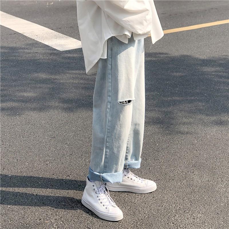 韓系男女中性破洞老爹褲寬鬆直筒牛仔褲闊腿褲牛仔長褲【逆主流】