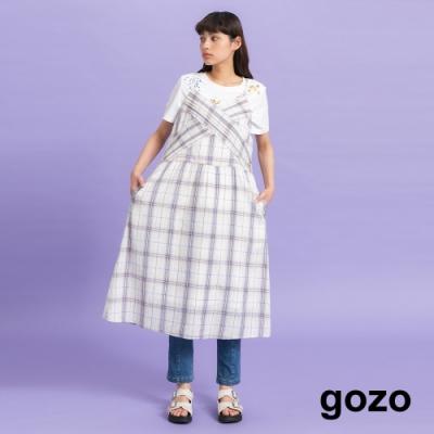 gozo-胸前打叉叉格紋細肩帶洋裝(二色)