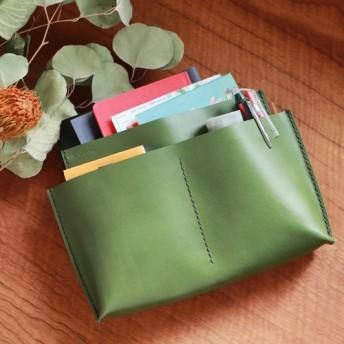 バッグインバッグ【5レザーポケット L 】松葉 茶糸 KAKURA 牛革 手縫い 名入れ刻印可