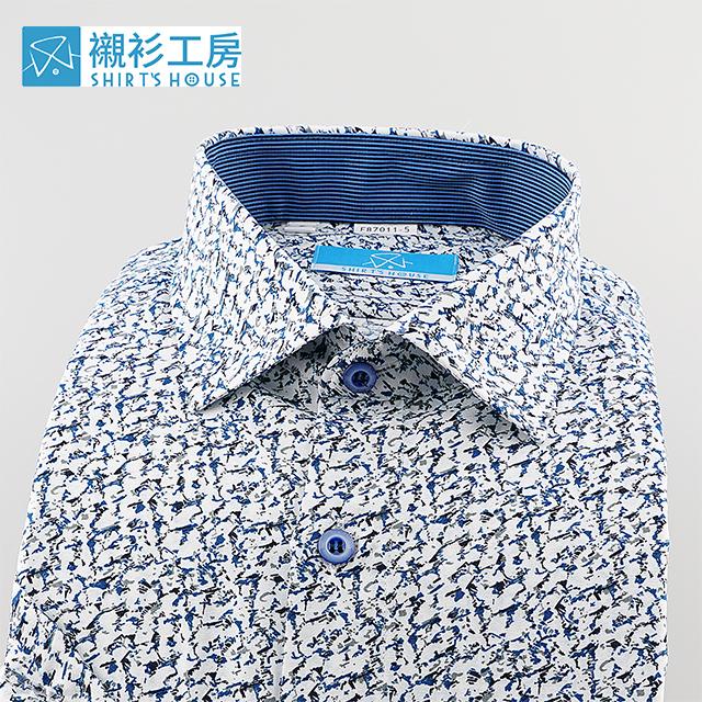 白底藍黑色大理石紋印花、時下正流行、領座配布合身短袖襯衫87011-05 -襯衫工房