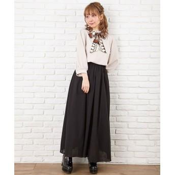(INGNI/イング)RY麻ギャザースカート/レディース ブラック