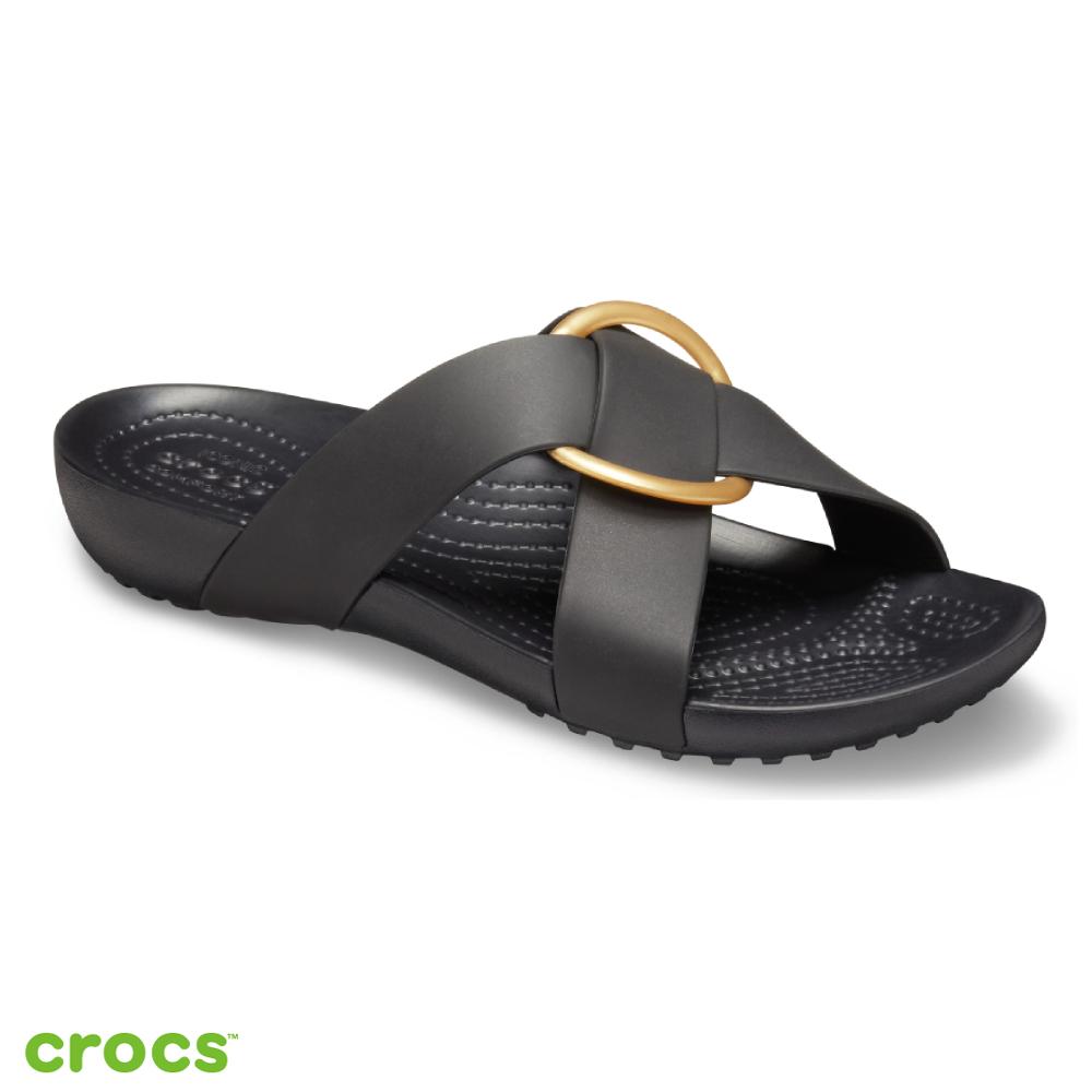 Crocs 卡駱馳 (女鞋) 瑟琳娜花漾女士橫帶涼拖 206099-001
