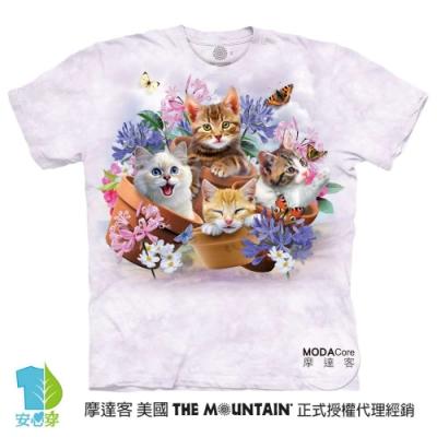 摩達客-美國進口The Mountain 花園貓咪哦耶 純棉環保藝術中性短袖T恤