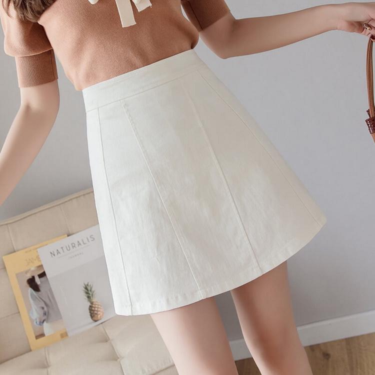 VIVILIAN日系甜美糖果色學院風簡約傘狀高腰顯瘦半身褲裙 黑/白