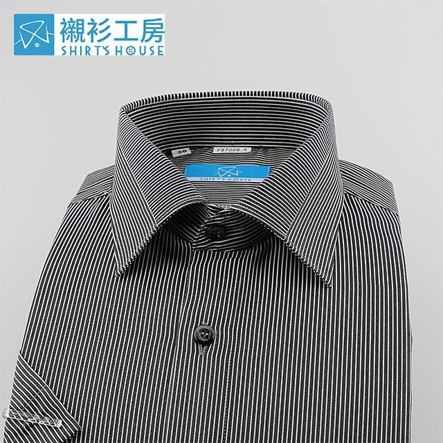 黑色細條紋、領面拼接、清涼節能特殊材質合身短袖襯衫87008-09-襯衫工房