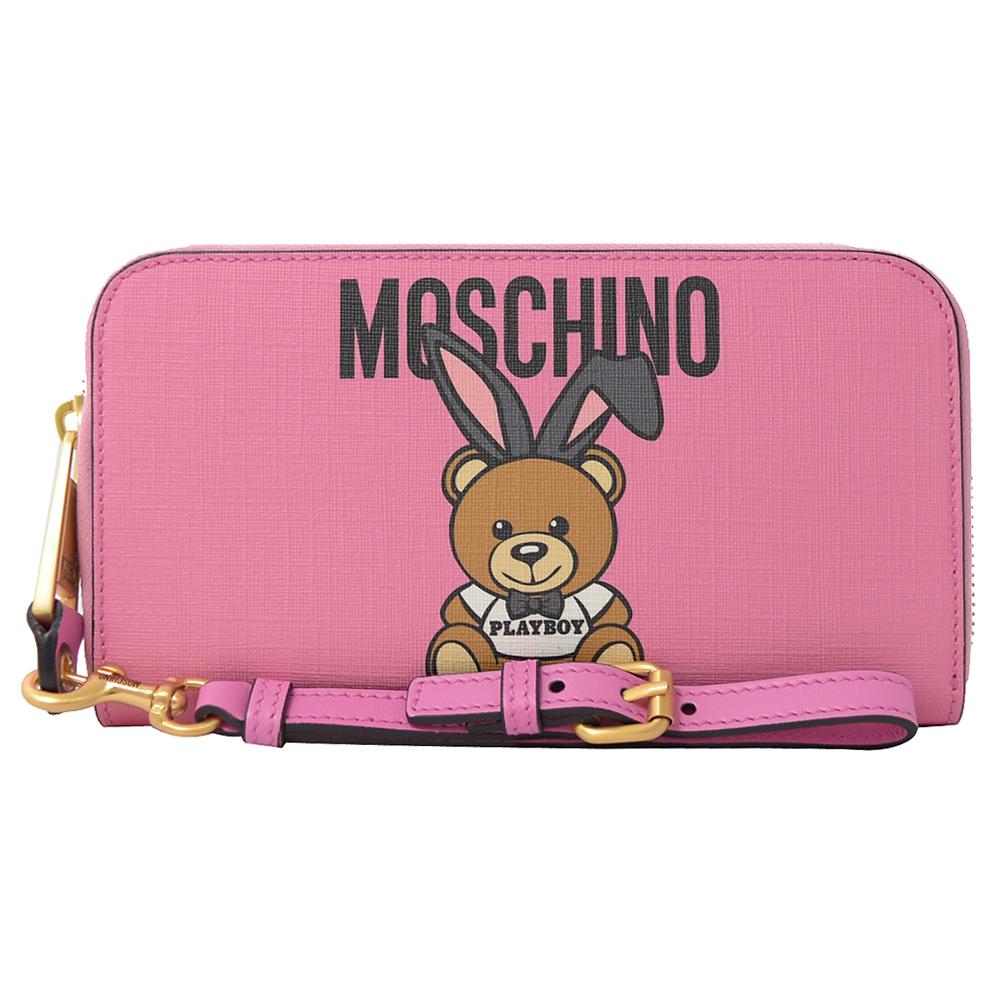 MOSCHINO 7A8137 PLAYBOY聯名泰迪熊手提式拉鍊長夾.粉