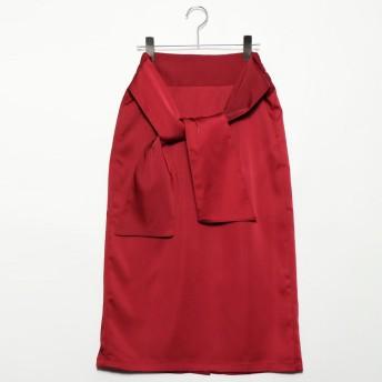 スタイルブロック STYLEBLOCK マットサテンバックリボンタイトスカート (レッド)