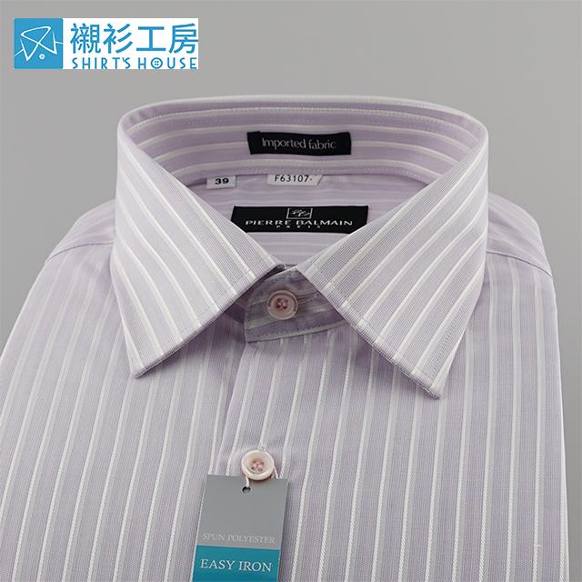 皮爾帕門pb粉紫色條紋加亮緹花、紳仕穩重、簡易整燙特殊材質合身長袖襯衫63107-08 -襯衫工房