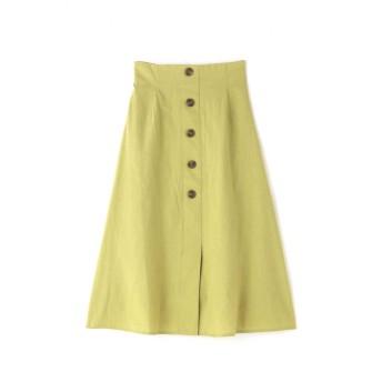 【公式/フリーズマート】《Sシリーズ対応商品》麻調フロント釦ソフトフレアスカート/女性/スカート/ライトグリーン/サイズ:S/(表生地)コットン 100%(裏生地)ポリエステル 100%