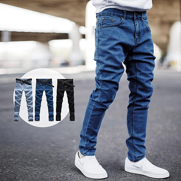 牛仔褲 簡約質感全素面彈性牛仔褲【NB0777J】
