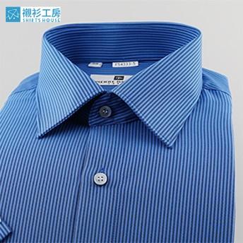 皮爾帕門pb藍黑色細條相間、顯瘦穩重、一般版型短袖襯衫54333-05 -襯衫工房