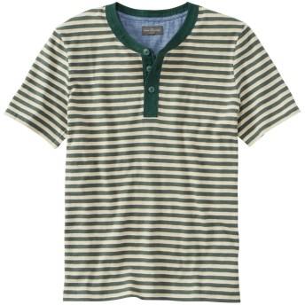 シグネチャー・スラブ・ヘンリー、半袖 ストライプ/Men's Signature Slub Henley, Short-Sleeve, Stripe Regular