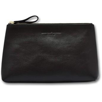 [CALF カーフ] 本革 皮革ポーチ Lサイズ ブラック black レザー 通帳ケース 貴重品入れ 鞄 整理 旅行 メンズ 贈り物 ギフト