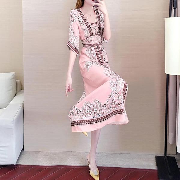 民族風洋裝長裙子女夏海邊度假漢服改良版旗袍 淇朵市集