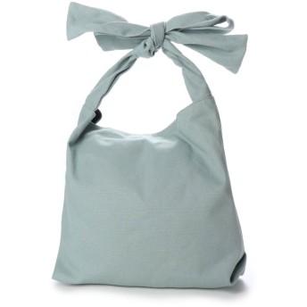 ヴィータフェリーチェ VitaFelice キャンバストートバッグ リボンショルダーバッグ バルーンバッグ (BLUEGRAY)