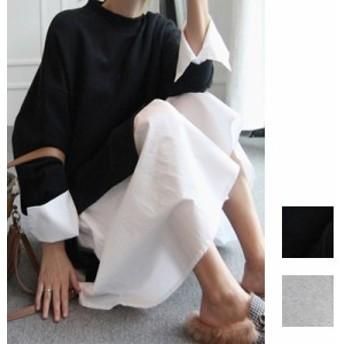 韓国 ファッション レディース ワンピース 秋 冬 春 カジュアル naloI044  ハイネック シャツ 重ね着風 ラフ Aライン シンプル コーデ 定