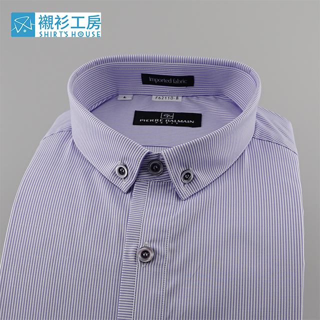 皮爾帕門pb紫色細條紋、立領式釘釦領門襟加變化、文青風合身長袖襯衫 62110-08 -襯衫工房