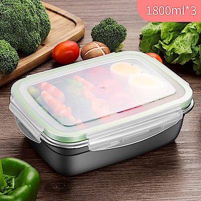 【佳工坊】韓式超好扣304不鏽鋼密封保鮮盒-1800ml*3個